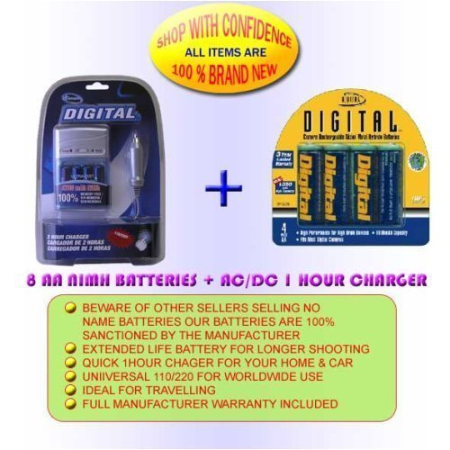 CHARGER + 8AA 2700MAH BATTERIES FOR PENTAX OPTIO K100D K110D 50L E10 M20 M10 60 *IST DS 50 S45 S40 D 33LF 43WR S30 (Battery Rechargable Pentax)