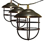 ACRAFT Handmade Lantern String Lights for Patio Rustic Metal Cage Pendant Lighting for Tree Branches Outdoor Garden 10 Bulbs 7.1ft (Bronze Brown)