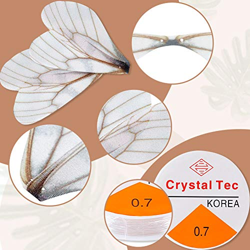 BigOtters 80PCS Dragonfly Wing Charms, White Dragonfly Wing Shape with 2 Rolls Fishing Line for DIY Art Craft Flying Keys Skeleton Keys Earrings Pendant Jewelry Making