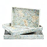 Tozai Home Palawan Flower Set of 3 Mother of Pearl Trays, Food Safe