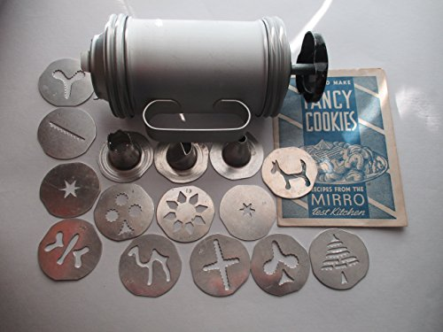 Mirro Handled Cookie Cooky Press w/ 12 Designs, 3 Decorating Tips and Recipe Booklet