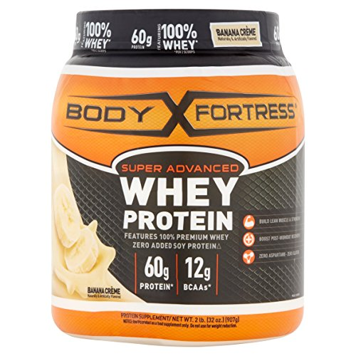 Body Fortress Super Advanced Whey Protein Powder, Banana Crème, 2 pounds Banana Crème Protein Supplement Powder to Help Build Lean Muscle and Strength (Super Powder Creatine)