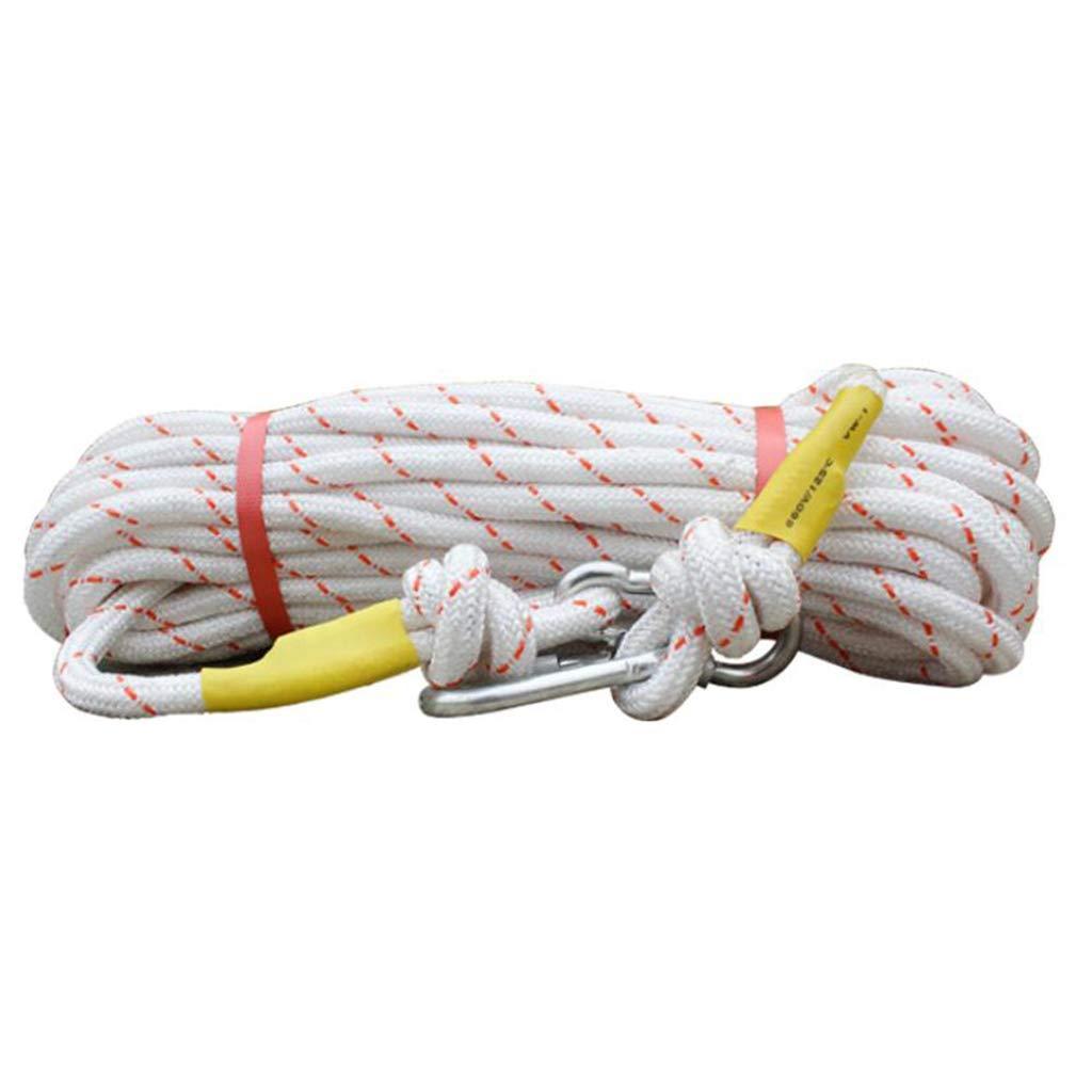 Blanc HUYYA Corde De Sécurité Sauvetage 12 mm, Auxiliaire Corde d'escalade Corde Parachute de Survie Multifonction Corde de Sécurité d'escalade Extérieure 30M(98FT)