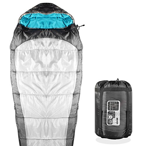 KHOMO GEAR - 3 Season - Mummy Sleeping Bag For Hiking Camping & Outdoor Activities - Compression Bag Included Grey by KHOMO GEAR