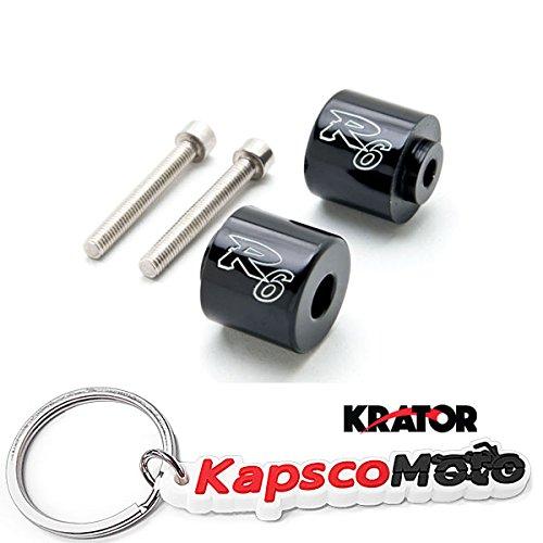 "Krator Black Yamaha""R6"" Engraved Bar Ends Weights Sliders - YZF-R6 (2006-2012) + KapscoMoto Keychain"