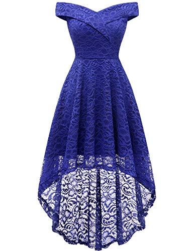 Homrain Women's Off Shoulder Hi-Lo Floral Lace Dress Vintage Elegant Cocktail Party Wedding Dresses RoyalBlue S