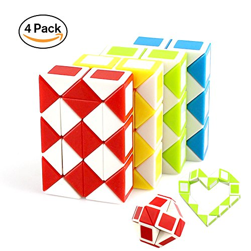 Speed Cube Puzzle Toys Magic Snake Twist,4 Pack 24 Wedges Children Cube Game Puzzle Toys For Kids Adult Gifts 51ydxe4OM 2BL