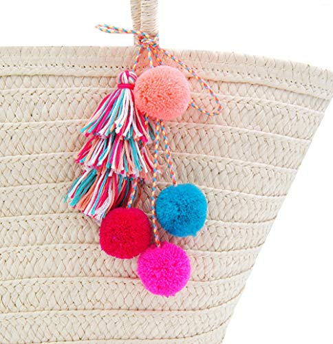 QTMY Pom Pom Tassel Long Bag Pendant Charm Keyring Keychain for Women Purse Handbag Decor