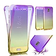 MOMDAD Coque pour Samsung Galaxy J3 2017,TPU Silicone Housse pour Samsung Galaxy J3 2017,Souple Etui Samsung Galaxy J3 2017,Transparent Silicone Case Samsung Galaxy J3 2017,Protection Anti rayures Shock-Absorption Ultra Mince Flexible TPU Bumper Protective Cover Anti-Scratch Effacer Hull-Purple+Jaune
