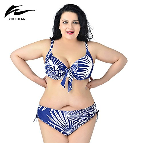 Smartcoco Plus Size Women Two-Piece Style Swimsuit Summer Beach Surfing Bathing Suit Bikini Blue 5XL