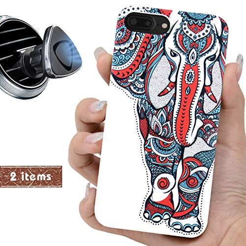 iProductsUS White Wood Phone Case Compatible with iPhone 8Plus, 7Plus, 6Plus, 6sPlus and Magnetic Mount-UV Printed Colorful Elephant,Built-in Metal Plate,TPU Rubber Protective Shockproof Covers (5.5
