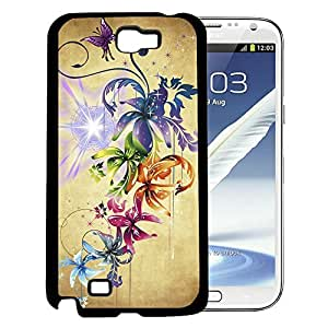 Rainbow Colored Flowers And Stardust Rubber Silicone TPU Cell Phone Case Samsung Galaxy Note 2 II N7100