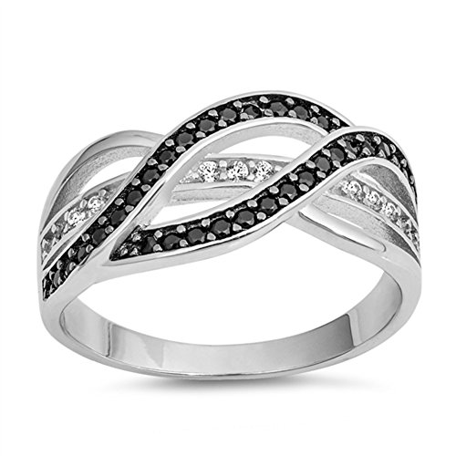 (Black Simulated CZ Woven Interlocking Bar Knot Ring .925 Sterling Silver Band Size 8)