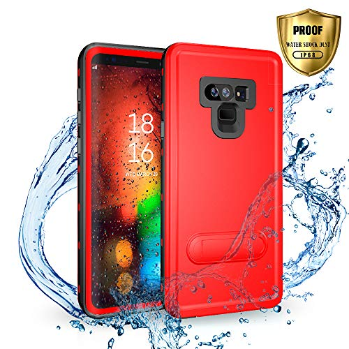 SEEBAY Galaxy Note 9 Waterproof Case | Underwater Full Body Dust/Snow/Shock Proof Hard Cover with Kick Stand for Samsung Galaxy Note9 (6.4) |Touch ID Available | Access to All Functions (Red)