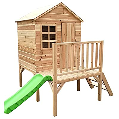 Big Game Tower Wooden Playhouse with Slide