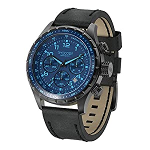 Timecode Sputnik 1957 TC-1011-12 49mm Men's Watch BLUE dial BLACK Leather Date Chronograph