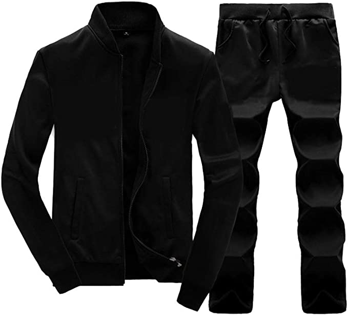 DAIJIA Mens Tracksuit Gradient Outfit Set Long Sleeve Zip Hoodie Jogging Sports Suits,Mens Winter Sports Casual Fitness Suit