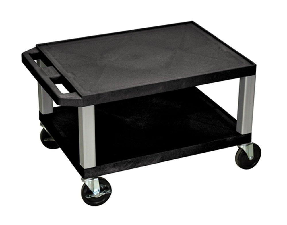 Luxor 16 H Multipurpose Rolling Utility Storage AV Cart – Black, 2 Shelves with Nickel Legs