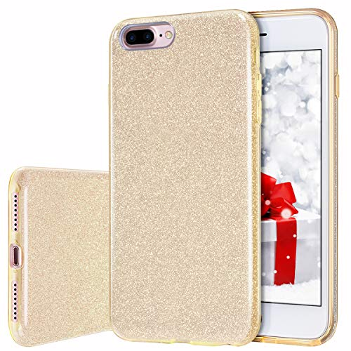 iPhone 8 Plus Case, MILPROX iPhone 7 Plus Glitter Sparkly Pretty Cute Premium 3 Layer Hybrid Anti-Slick/Protective/Soft Slim Thin Case for Girls/Women iPhone 7 Plus / 8 Plus - Gold
