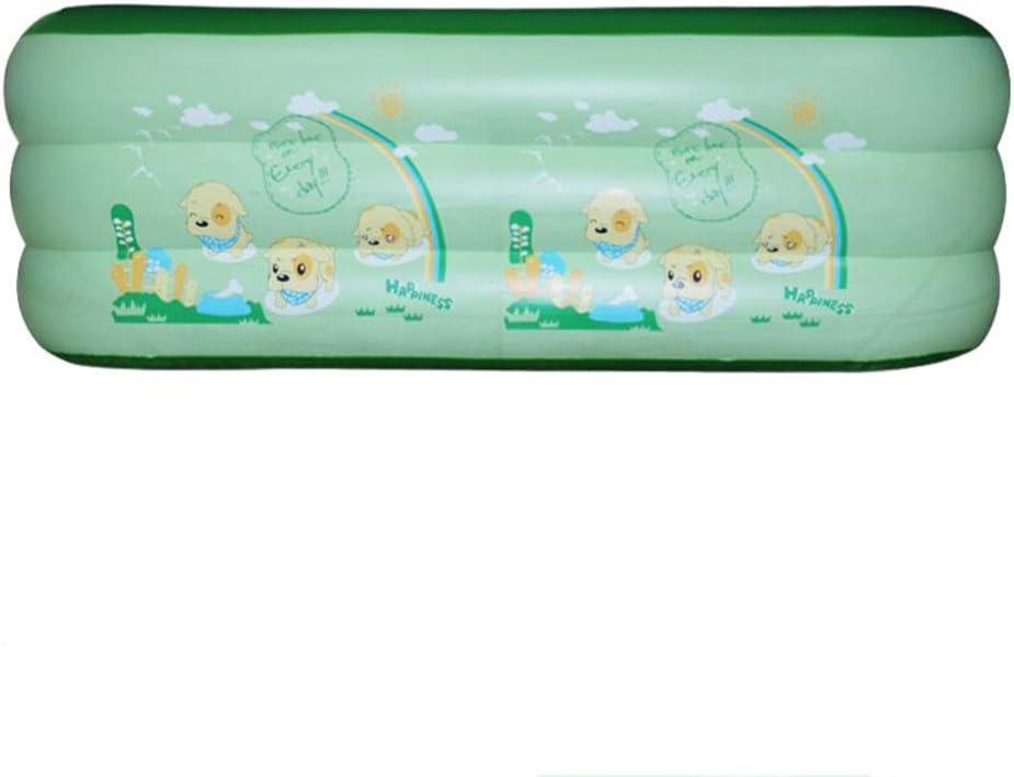 Piscina Inflable Pvc Piscina Inflable Rectangular De La Familia De Tres Capas Engrosamiento Verde Burbuja Inferior Piscina De Los Niños Inflables Piscina De Paleta 210cm X 150cm X 60cm,Dog-210*150*65
