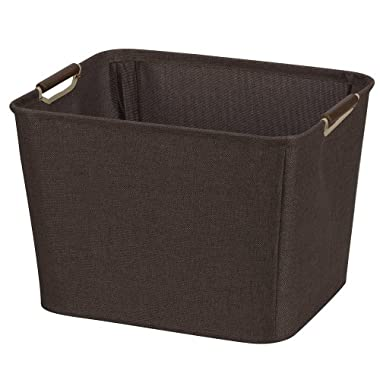 Household Essentials Medium Tapered Bin with Wood Handles, Coffee Linen