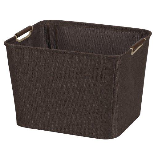 Delicieux Household Essentials 601 Medium Shelf Basket With Wood Handles |  Multi Purpose Home Storage Bin | Brown Coffee Linen