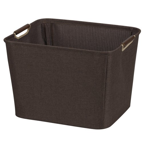 Household Essentials 601 Medium Shelf Basket with Wood Handles | Multi-Purpose Home Storage Bin | Brown Coffee Linen