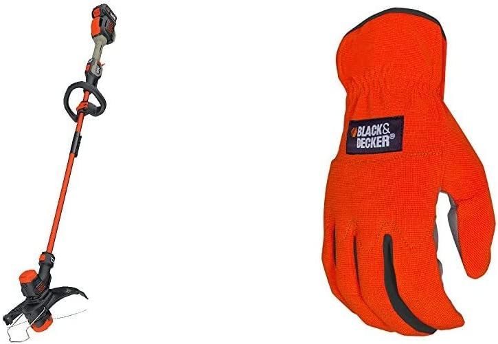 BLACK+DECKER 60V MAX String Trimmer Kit with EASYFEED, 13-Inch with Easy-Fit All Purpose Glove (LST560C & BD505L)