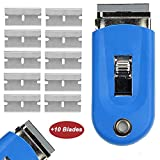 "Wekoil Razor Blade Scraper Tool High Visibility Blue Color Stovetop Scraper Glass Window Metal Scraper 1.5"" Razor Ceramic Scraper+10 Pcs Replacement Scraper Blades Removing Sticker Glue Paint Adhesive"