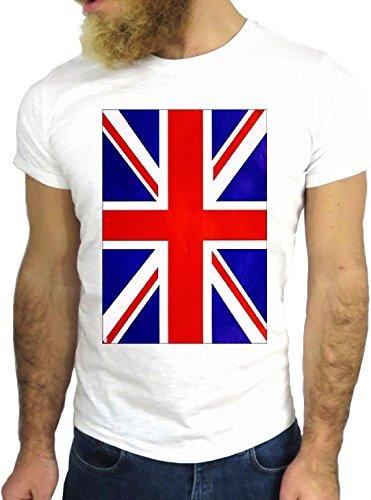 T-SHIRT JODE GGG24 Z0694 UK FLAG FUN COOL VINTAGE ROCK FUNNY FASHION CARTOON NICE AMERICA BIANCA - WHITE S