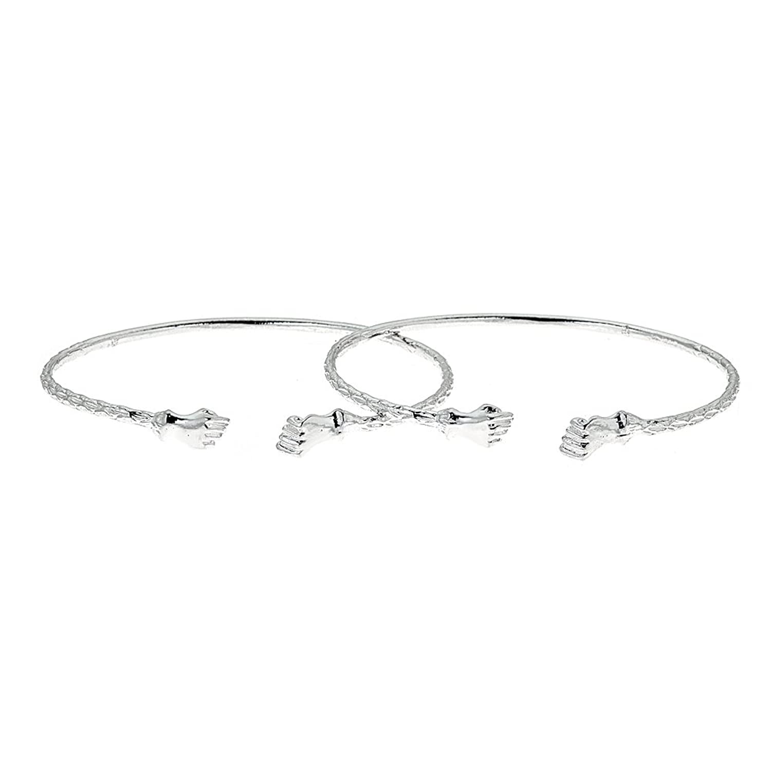 Solid .925 Sterling Silver Small Fist Bangles (Made in USA)