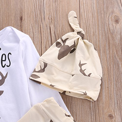 8730acadb1e Newborn Baby Boys Funny Bodysuits+ Deer Pants +Hats Outfits Clothes Set (3 -6months