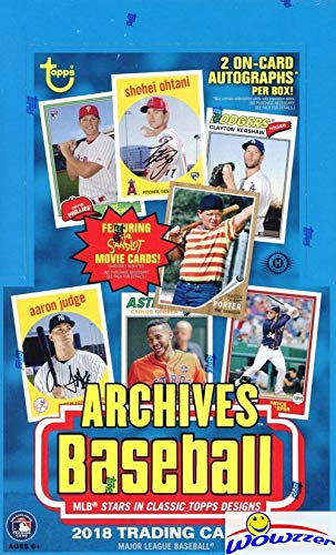 2018 Topps Archives Baseball MASSIVE Factory Sealed 24 Pack HOBBY Box with TWO(2) AUTOGRAPHS! Look for Auto's of Mike Trout, Shohei Ohtani, Ronald Acuna, Sandy Koufax, Derek Jeter & More! WOWZZER! ()