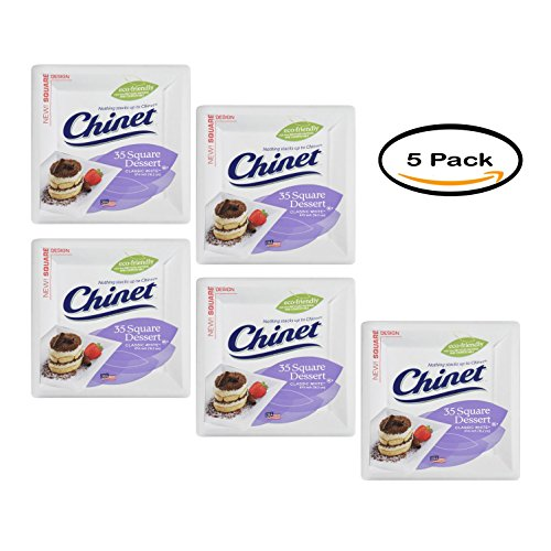Pack of 5 - Chinet Classic Paper Dessert Plates, Square, 6 3/8
