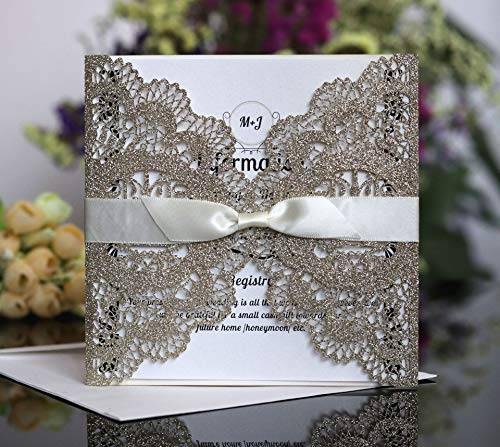 Noble Golden Openwork Wedding Invitations, Birthday Party Invitations with Ribbon Envelope, Friend Class Reuion Invitation Card (30) -