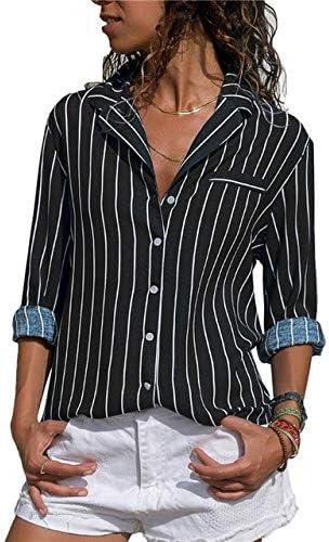 SETGVFG Blusa A Rayas Blusas Y Blusas para Mujer Manga Larga Camisa De Oficina De Manga Larga para Mujer Camisa A Rayas De Blusa Tallas Grandes Blusas: Amazon.es: Deportes y aire libre