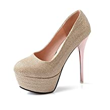 WeenFashion Women's Pull-on Round Closed Toe High-Heels Sequins Solid Pumps-Shoes