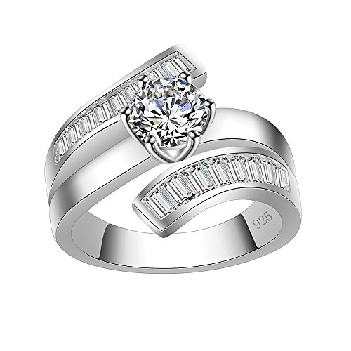 Lavencious Luxury Clear Baguette-Cut CZ Statement Ring Band 925 Sterling Silver for Wedding (Silver, 9) (Sterling Silver Clear Baguette)