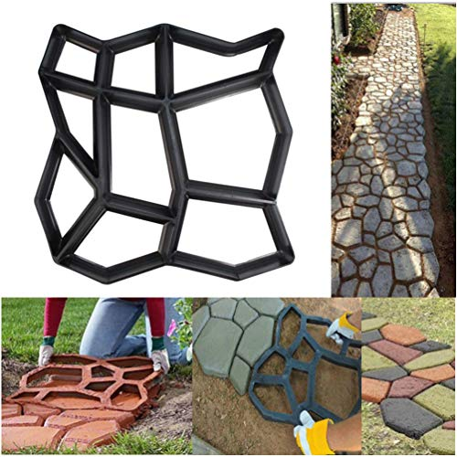 TureLaugh SuperThinker DIY Walk Maker, Vinus Pathmate Stone Mold Paving Pavement Concrete Mould Stepping Stone Paver Walk Way for Garden, Patio, Yard (Garden Stone Concrete)