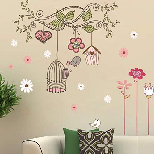 Pegatinas de Pared extraíbles Flor Aves Jaula Arte Decorativo ...