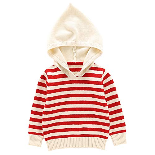 Moonnut Baby Boys Girls Striped Pullover Hoodie Unisex Baby Hooded Sweater with Pocket Casual Sweatshirt Tops (18-24months, red&White)