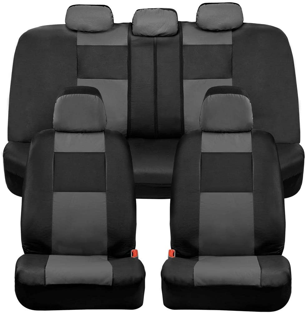 Black//Grey Full Set Front /& Rear Car Seat Covers for Universal Fit