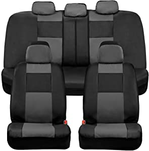 BDK Croc Skin Faux Leather Car Seat Covers, Full Set Gray – Universal Fit Design, Airbag Compatible, Front and Back Seat Cover for Cars Trucks Vans and SUVs
