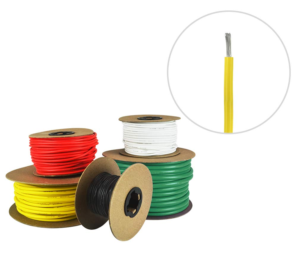 14 AWG Marine Wire -Tinned Copper Primary Boat Cable - 50 Feet - Yellow - Made in The USA by Common Sense Marine