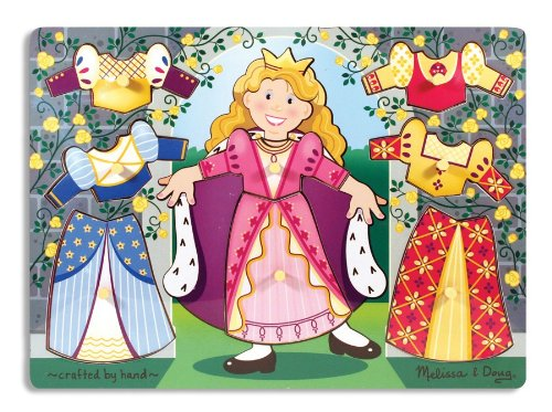 Mix Match Peg Puzzle - Melissa & Doug Princess Dress-Up Wooden Peg Puzzle (8 pcs)