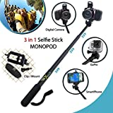 Xtech Premium 3 in 1 Handheld MONOPOD Pole for DIGITAL Cameras, SMARTPHONES and GoPro Cameras including NIKON COOLPIX AW130, AW120, AW110, AW100, L310, L24, L22, L20, L330, L320, L620, L610, P7800, P7700, L840, L830, L820, P900 P610, P600, P530, P340, L810, P4, P3, S810c, S9900, S7000, S6900, S3700, S2900, S33, S32, S9700, L32, L31 L30, S510, S500, S200, S700, S600, S750, L28, L26, L120, L110, L100, L19 S210, S205, S520 and All Digital Cameras.