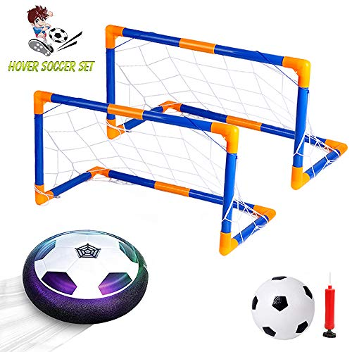 VCOSTORE Hover Soccer Ball Toys Set with 2 Goals, Size 4 Air Power Soccer with LED Lights Up Toys Floor Floating Ball Games for Boys Girls Gift Indoor Outdoor Time Killer ()