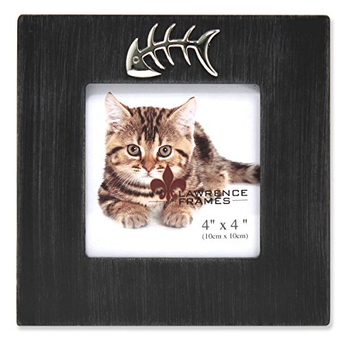 (Lawrence Frames Wash Cat Frame with Fish Bone Ornament, 4 by 4-Inch, Black)