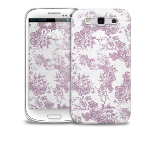 TelŽfono protectora cubierta de la caja pl‡stica de la vendimia floral rosado Azul Samsung Galaxy S3 GS3