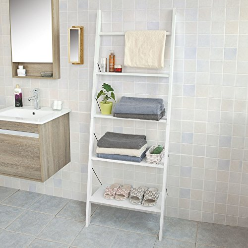 Haotian Ladder Shelf Coat Rack Storage Display Shelving Rack,Bathroom Shelf Storage Display Shelving Bookcase,enterway Shelf Coat Rack Storage Display Shelving (FRG100-W)